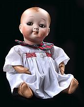 A BISQUE HEAD W-90 CHARACTER BABY BOY DOLL
