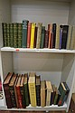 TWO SHELVES OF BOOKS INCLUDING PITMAN'S SHORTHAND BUDGET 1901, PHONETIC JOURNAL ETC