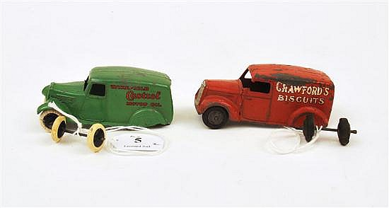 TWO DINKY PRE-WAR MODELS INCLUDING 28M DELIVERY VAN 'CASTROL'; AND 28P DELIVERY VAN 'CRAWFORD'S BISCUITS', BOTH WITH DETACHED BACK