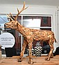 LARGE INDONESIAN HAND CRAFTED WOODEN REINDEER 148cm high