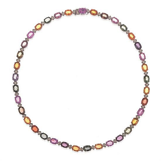 A MULTI-COLOURED SAPPHIRE AND DIAMOND NECKLACE