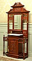 VICTORIAN STYLE MAHOGANY MIRRORED HALL STAND, WITH A SINGLE DRAWR AND A SINGLE CUPBOARD, H216