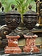 PAIR OF BRONZE COVERED URNS ON ROUGE MARBLE BASES