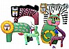 6 Pcs. Painted Wooden Oaxaca and Bali Animals