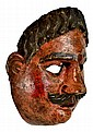 Antique Painted Wood Mask, Mustache Man