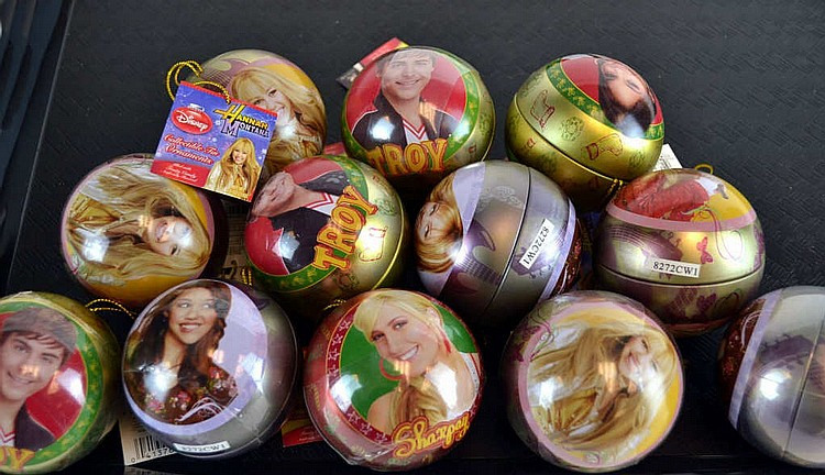 Hannah Montana Disney Christmas ornaments.