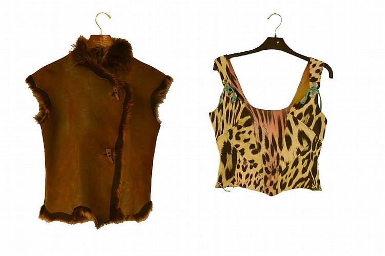 2pcs, ladies leather vest, fur lined Rizal France.