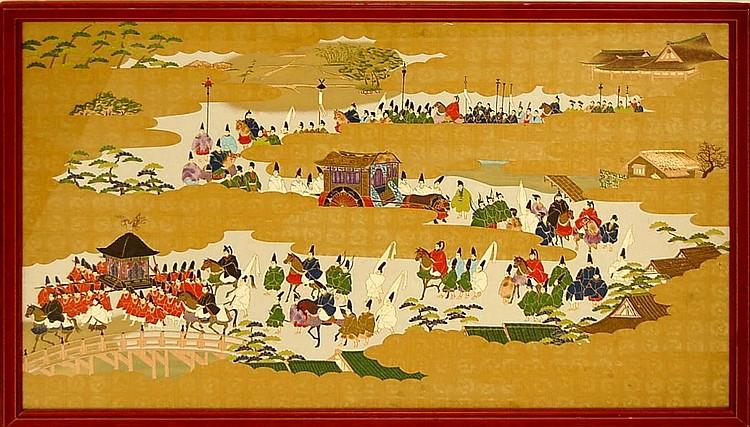 Asian Emperor's Caravan Textile Painting