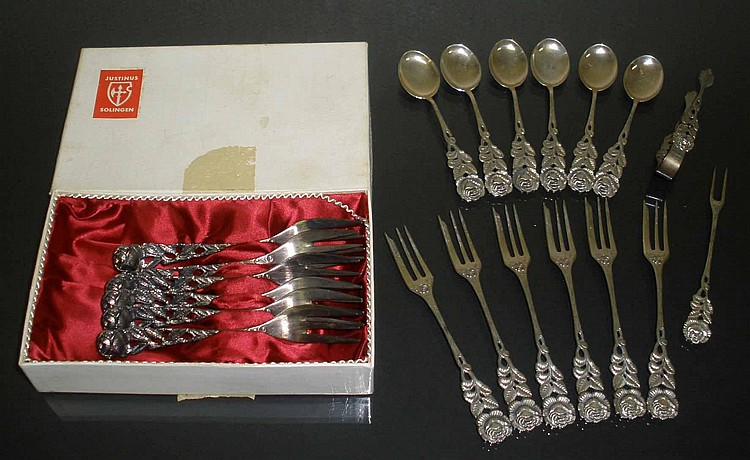 Group of Antiko 800 Silver Rose Decorated Spoons, Forks & More