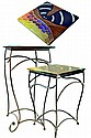 C3 Studios INC. 2 Wrought Iron Stands w Glass Tops