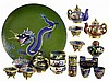 18pcs of Chinese Cloisonne: Tea Pots, Jars, Plate