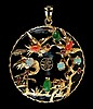 14k Black Jadeite, Opal & Coral Asian Pendant