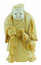 Signed Carved Ivory Netsuke Hooded Traveler