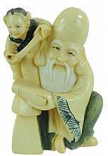Signed Carved Ivory Netsuke Elder w/ Child