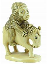 Signed Carved Ivory Netsuke Monkey Riding a Pony