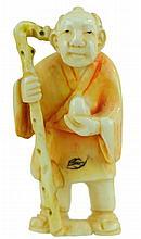 Signed Carved Ivory Netsuke Standing Man w/ Egg