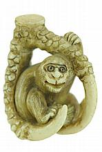 Signed Carved Ivory Netsuke Monkey in Claw
