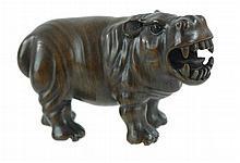 Signed Japanese Carved Wooden Netsuke Hippopotamus