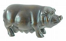 Signed Japanese Carved Wooden Netsuke Pig