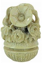 Carved Ivory Netsuke Flower Basket