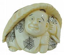 Carved Ivory Netsuke Umbrella Man