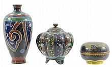 3 Pc. Japanese Cloisonne Vase & Box Lot