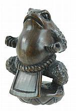 Signed Japanese Carved Wooden Netsuke Sumo Frog
