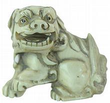 Signed Carved Ivory Netsuke Foo Dog