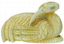 Signed Carved Ivory Netsuke Resting Crane