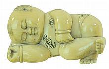 Signed Carved Ivory Netsuke Sleeping Child