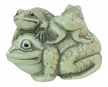 Signed Carved Ivory Frog Netsuke
