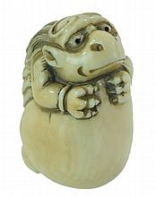 Signed Carved Ivory Netsuke Hatching Egg Reptile