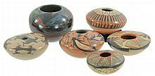 6 Pc. Native American Seed Pottery Lot