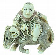 Carved Ivory Man w/ Water Buffalo Netsuke
