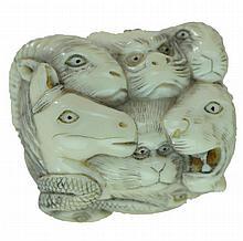 Signed Carved Ivory 12 Animal Face Netsuke