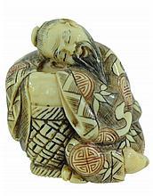 Signed Carved Ivory Sleeping Man w/ Basket Netsuke