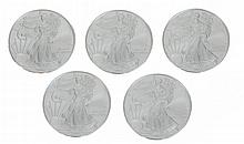 Five 2008 Uncirculated Silver Eagle Dollar Lot