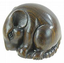 Signed Japanese Carved Wooden Netsuke Rat on Tail