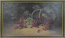 Oil Painting Basket of Spilled Grapes