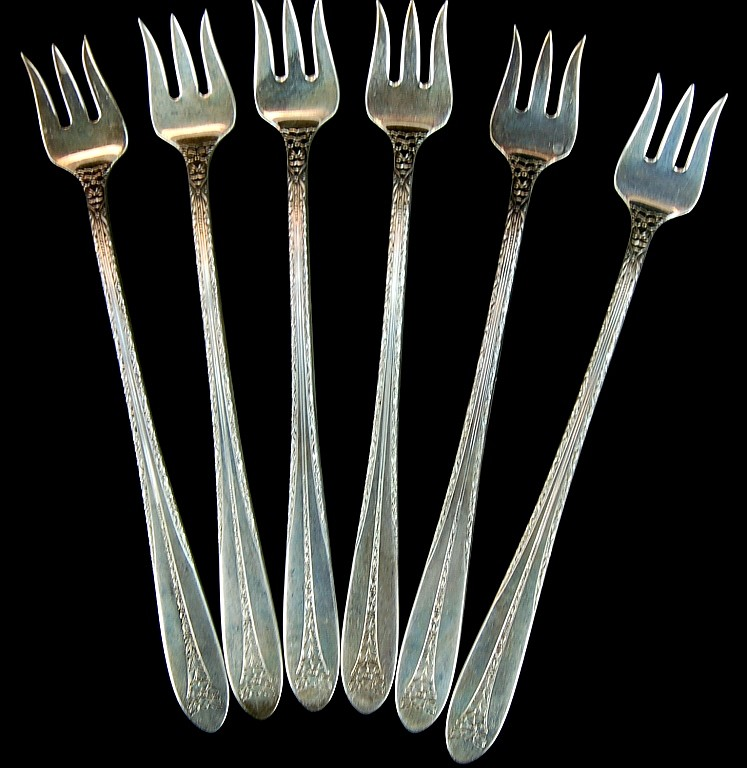 6 National Sterling Cocktail Forks