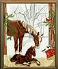 Needlepoint Horse & Foal Painting