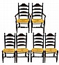 Set of 6 Reproduction Ladder Back Chairs