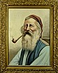 Signed German Oil Painting Gentleman Smoke a Pipe