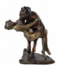 Signed Wien Bronze Satyr w/ Nude Woman