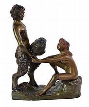 Signed Franz Bergman Satyr & Nude Woman Bronze