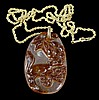 14k Gold Carved Red Jade Squirrel Tree Necklace Pendant