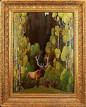 William Herbert Dunton (1878-1936) Elk in Aspens