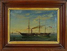 19th Century Oil Painting, Sidewheel Steamer Ship