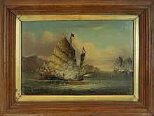 19th Century Oil Painting, Chinese Junk Ship Battle