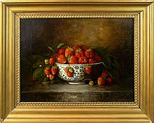 Richard Goodwin (1840-1910) Oil on Canvas, Strawberries